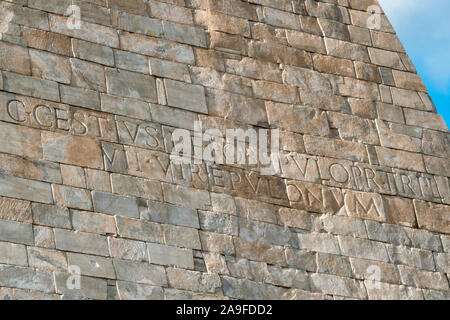 Inscription on the Pyramid of Cestius, Rome, Italy - Stock Photo