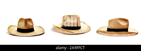 Straw hats for men isolated on white background - Stock Photo