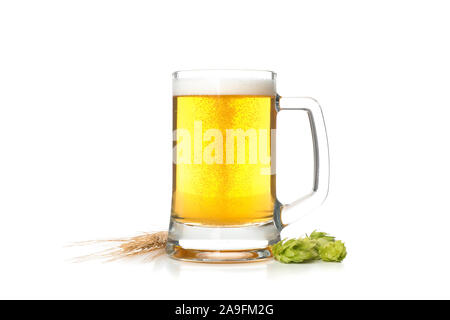 Beer glass, hop and spikelets isolated on white background - Stock Photo