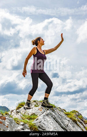 woman in victory pose stock photo 103490961  alamy