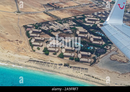 Island Sal, Cape Verde - April 29, 2016: Aerial view of the tourist resorts Riu Palace and Riu Funana from TUI airplane - Stock Photo