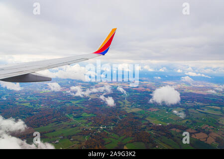 Flying over the state of Kentucky with looking out of a Southwest Airlines airplane. - Stock Photo