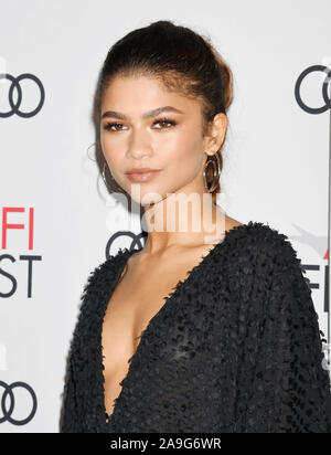 HOLLYWOOD, CA - NOVEMBER 14: Zendaya attends the 'Queen & Slim' Premiere at AFI FEST 2019 presented by Audi at the TCL Chinese Theatre on November 14, 2019 in Hollywood, California. - Stock Photo