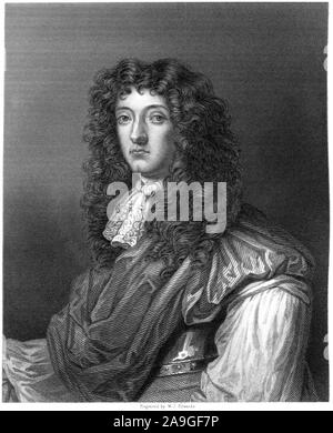 An engraving of John Graham of Claverhouse, Viscount Dundee from the Original by Sir Peter Lely scanned at high resolution from a book printed in 1859 - Stock Photo