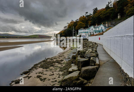 The Watchtower and Hotel beside the Dwyryd Estuary at Portmeirion, Gwynedd, Wales - Stock Photo