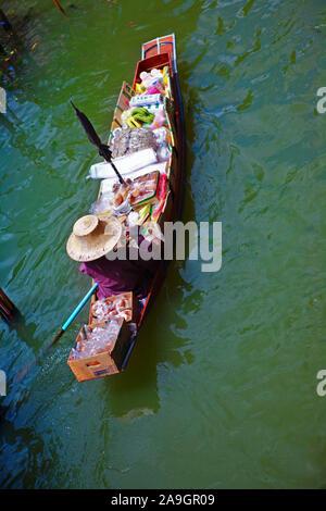 Asien, Thailand, schwimmender Markt, Damnoen Saduak, - Stock Photo