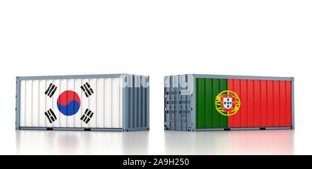 Two freight container with South Korea and Portugal flag. 3d rendering - Stock Photo