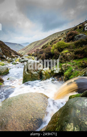 Beautiful landscape views of Kinder Scout part of the Pennine way at Dark Peak in the Derbyshire Peak District National Park, Hiking and climbing
