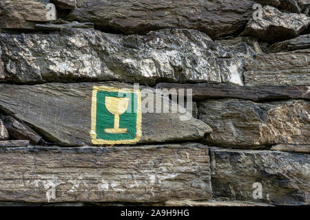 symbol of rheinsteig hiking trail in the middle rhine valley, germany - Stock Photo
