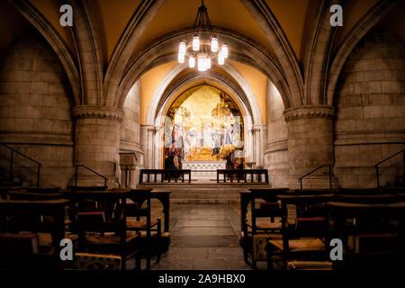 WASHINGTON, DC - The altar in the Chapel of St. Joseph of Arimathea in the crypt of Washington National Cathedral. Washington National Cathedral is an - Stock Photo