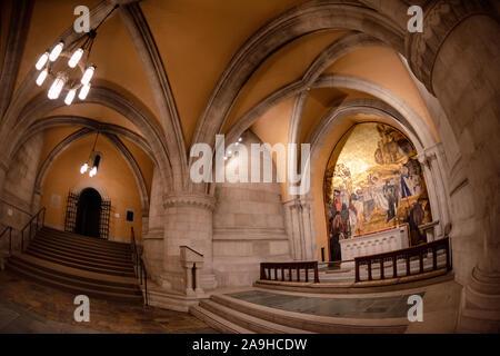 WASHINGTON, DC - Chapel of St. Joseph of Arimathea in the crypt of Washington National Cathedral. Washington National Cathedral is an Episcopal church - Stock Photo