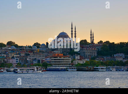 Istanbul,Turkey-September 6th 2019. Suleymaniye Mosque at dusk. An Ottoman imperial mosque, it is the 2nd largest mosque in Istanbul - Stock Photo