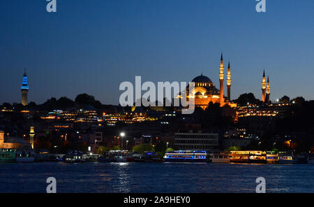 Suleymaniye Mosque at dusk. This Ottoman imperial mosque, on the 3rd Hill of Istanbul in Turkey, was built in 1557 & is the 2nd largest in Istanbul - Stock Photo