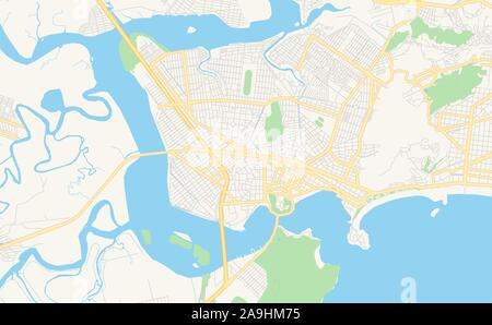 Printable street map of  Sao Vicente, Brazil. Map template for business use. - Stock Photo