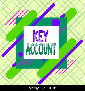 Writing note showing Key Account. Business concept for individual approach of sales showing to their customers Asymmetrical format pattern object outl - Stock Photo
