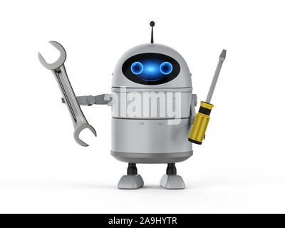 3d rendering android robot or artificial intelligence robot with screw driver and wrench - Stock Photo