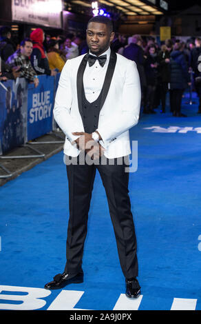 London, UK. 14th Nov, 2019. Rapman attends the World Premiere of the Blue Story at the Curzon Mayfair in London. Credit: SOPA Images Limited/Alamy Live News - Stock Photo