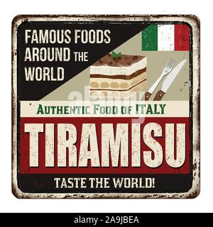 Famous foods around the world. Tiramisu vintage rusty metal sign on a white background, vector illustration - Stock Photo