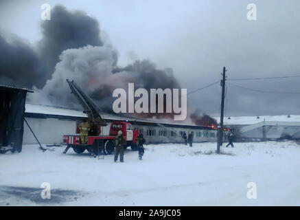 Nizhny Tagil, Russia. 16th Nov, 2019. NIZHNY TAGIL, SVERDLOVSK REGION, RUSSIA - NOVEMBER 16, 2019: Firemen fighting a fire at a finished products warehouse at the Nizhny Tagil poultry farm. The Sverdlovsk Region Branch of the Russian Emergencies Ministry/TASS Credit: ITAR-TASS News Agency/Alamy Live News - Stock Photo