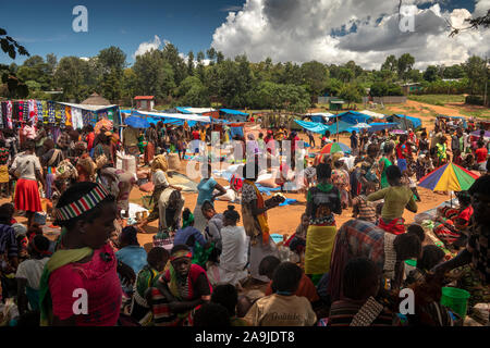 Ethiopia, South Omo, Key Afer, Thursday Market - Stock Photo