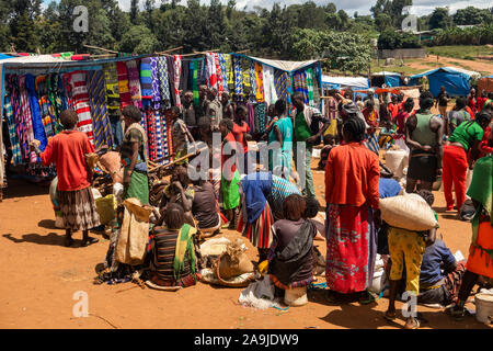 Ethiopia, South Omo, Key Afer, Thursday Market, tribal people - Stock Photo