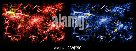 China, Chinese vs European Union, EU New Year celebration travel sparkling fireworks flags concept background. Combination of two abstract states flag - Stock Photo