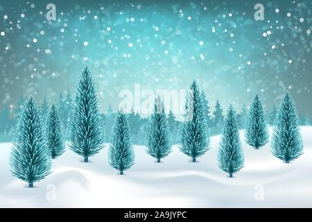 Winter forest and snow drifts in a frosty haze. Vector winter snowy landscape. Christmas background with fir trees - Stock Photo