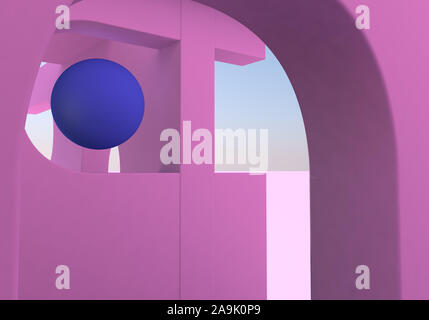 Abstract background with pink arches and ball