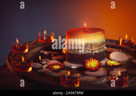 Beautiful candles still life, decorations for a nice cozy atmosphere, image suitable for Diwali festival, Ramadan or Thanksgiving holiday - Stock Photo