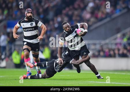 LONDON, United Kingdom. 16th, Nov 2019. Jacques Van Rooyen of Bath is tackled during The Killik Cup - Barbarians vs Fiji at Twickenham Stadium on Saturday, 16 November 2019. LONDON ENGLAND. Credit: Taka G Wu/Alamy Live News - Stock Photo