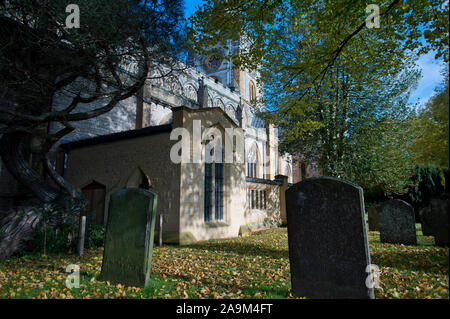Holy Trinity Church,  Burial Place of William Shakespeare, on the River Avon in Stratford upon Avon, Warwickshire, on Nov 3rd 2019. - Stock Photo