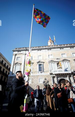 Chinese cartoonist and artist Badiucao reacts during his performance in support of Hog Kong and Catalonia at the Sant Jaume square in Barcelona, Catalonia, Spain, 16 November 2019. EFE/ Quique Garcia - Stock Photo