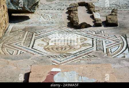 Mosaics decoration in Archaelogical site of Agia Kyriaki or Complex Chrysopolitissa, Kato Paphos , Cyprus. - Stock Photo