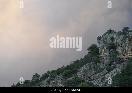 Rocky landscape in Sierra Madrona natural park, Ciudad real province, southern Spain - Stock Photo