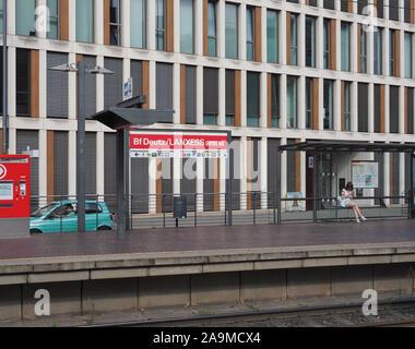 KOELN, GERMANY - CIRCA AUGUST 2019: Bahnhof Deutz - Lanxess Arena stadtbahn station - Stock Photo