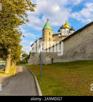 Russia, Pskov. September 20, 2019 Pskov Krom (Kremlin), historical and architectural center of Pskov. It is located on a narrow and high promontory at - Stock Photo