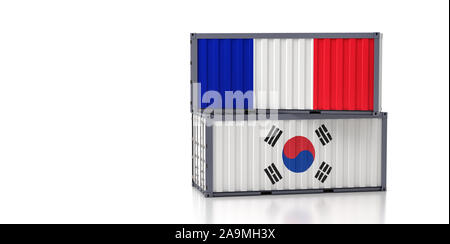 Two freight container with France and South Korea flag. 3D Rendering - Stock Photo