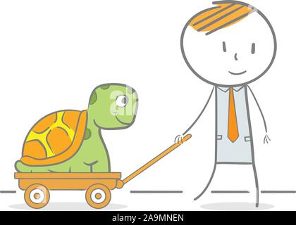 Conceptual doodle illustration of businessman helping employee - Stock Photo