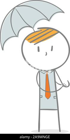 Doodle stick figure: Businessman with umbrella - Stock Photo