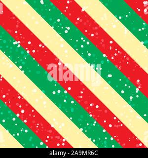 Christmas background with green, red and yellow diagonal stripes and snow. Vector seamless pattern - Stock Photo