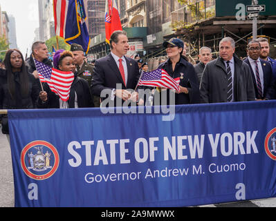 5th Avenue, Manhattan, New York, USA - November 11, 2019: 100th Annual Veteran Day Parade; New York Governor Andrew Cuomo - Stock Photo