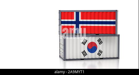 Two freight container with South Korea and Norway flag. 3d rendering - Stock Photo