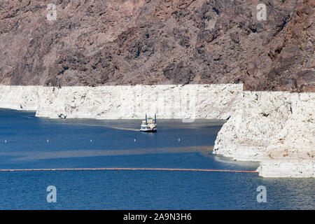 NEVADA, USA - May 21, 2012. A white band on the edge of Lake Mead in Nevada and Arizona shows the low water level in a period of drought - Stock Photo