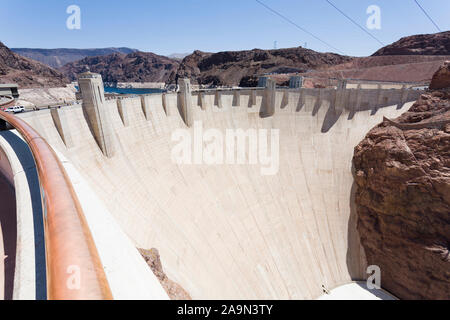 NEVADA, USA - May 21, 2012. Hoover Dam in Nevada, USA. The dam is capable of producing over 2000 megawatts of electricity. - Stock Photo