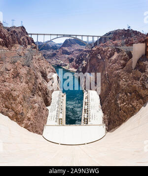 NEVADA, USA - May 21, 2012. Hoover Dam and Mike O'Callaghan - Pat Tillman Memorial Bridge in Nevada, USA. The dam is capable of producing over 2000 me - Stock Photo