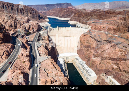 NEVADA, USA - May 21, 2012. Aerial view of Hoover Dam and infrastructure in Nevada, USA. The dam is capable of producing over 2000 megawatts of electr - Stock Photo