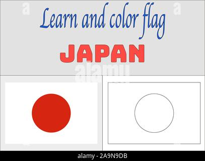 Japan National flag Coloring Book pages for Education and learning. original colors and proportion. vector illustration, from countries set. - Stock Photo
