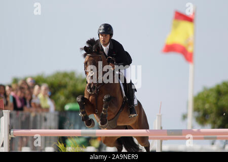 A CORUNA, SPAIN - JULY 21: Sergio Álvarez Moya during CSI Casas Novas Horse Jumping Competition on July 21, 2019 in A Coruna, Spain - Stock Photo