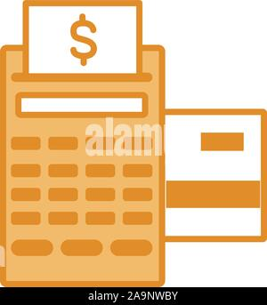 pos terminal bill credit card money line and fill - Stock Photo