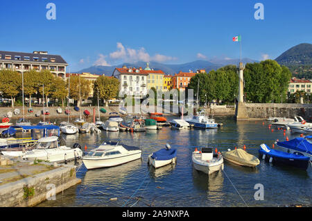 Verbania Intra old harbour on Lago Maggiore in northern Italy - Stock Photo